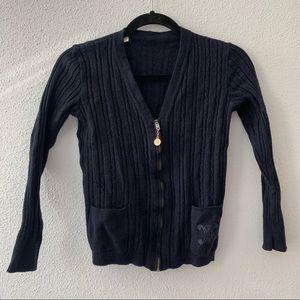 Celine vintage zip up sweater navy
